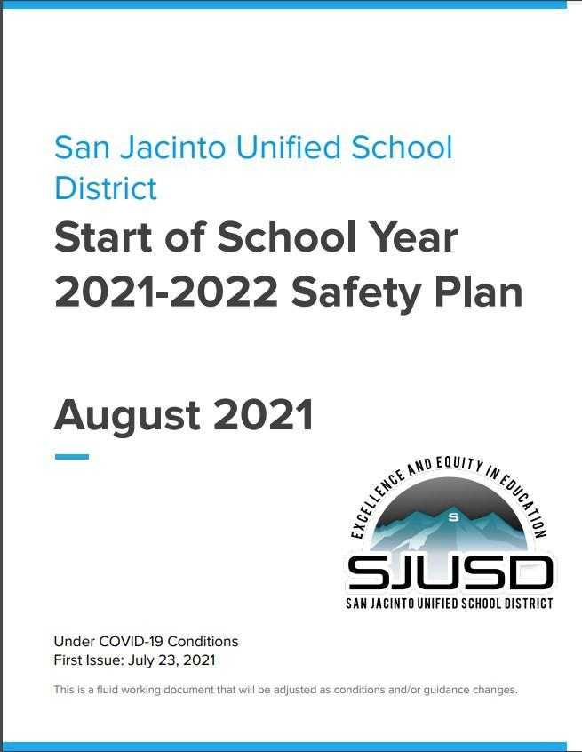 Cover of Start of School Year 2021-2022 Safety Plan