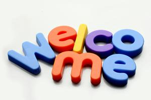 Welcome with Plastic Letter Magnets