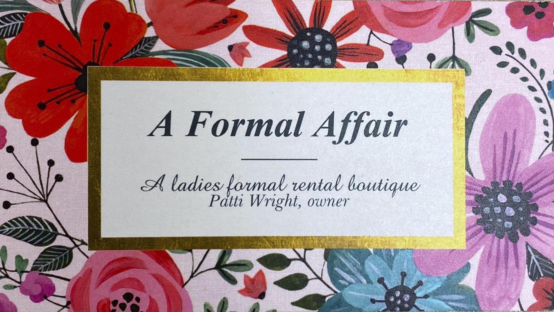 An advertisement for A Formal Affair