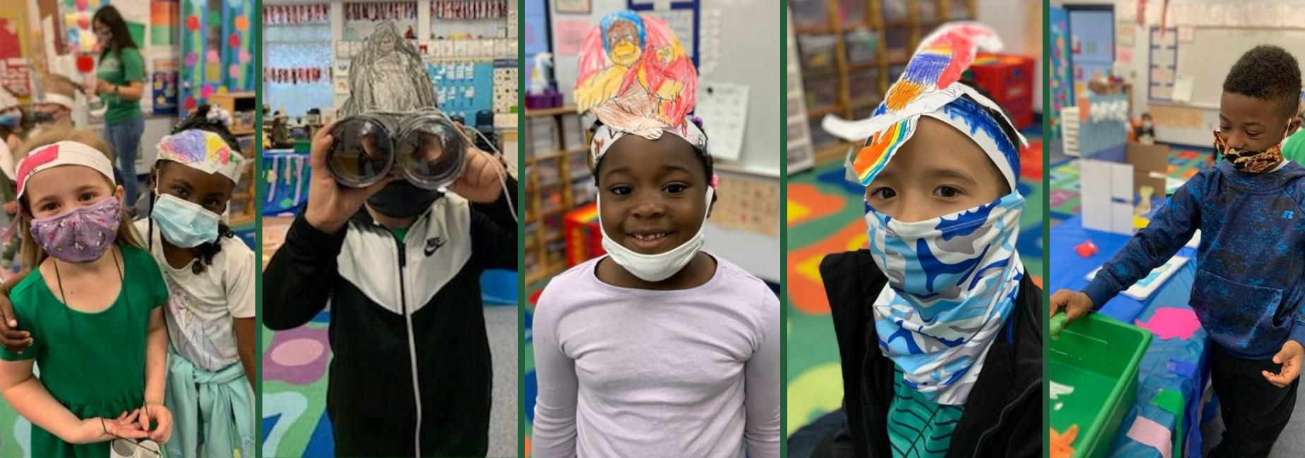 collage of 5 elementary students wearing colorful animal headbands they made