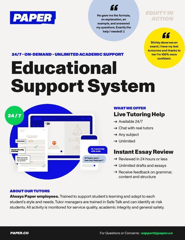Paper Tutoring Program for students.