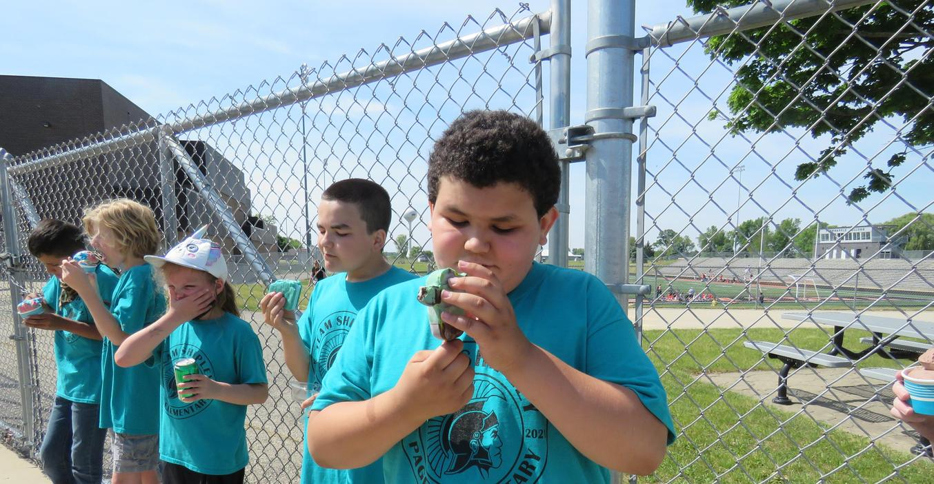 TK special needs students enjoy ice cream treats during the final days of the school  year.
