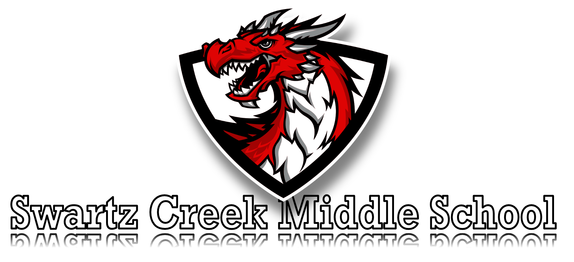 Dragon mascot with school title