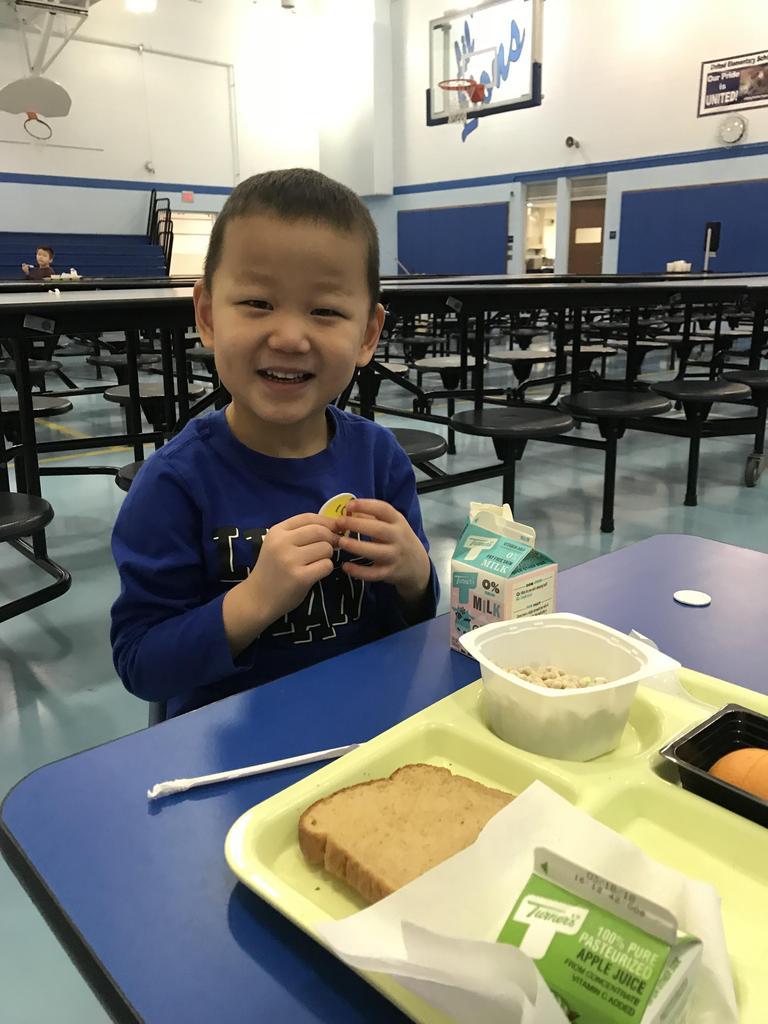 I had school breakfast in cafeteria