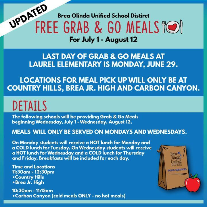 Grab & Go Meals (July 1 - August 12)