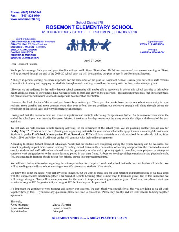 Parent Letter 4/27/2020