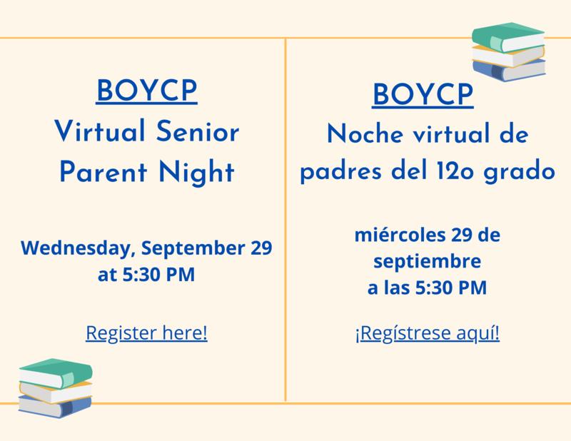 Virtual Senior Parent Night   Noche Virtual de Padres del 12o Grado Featured Photo