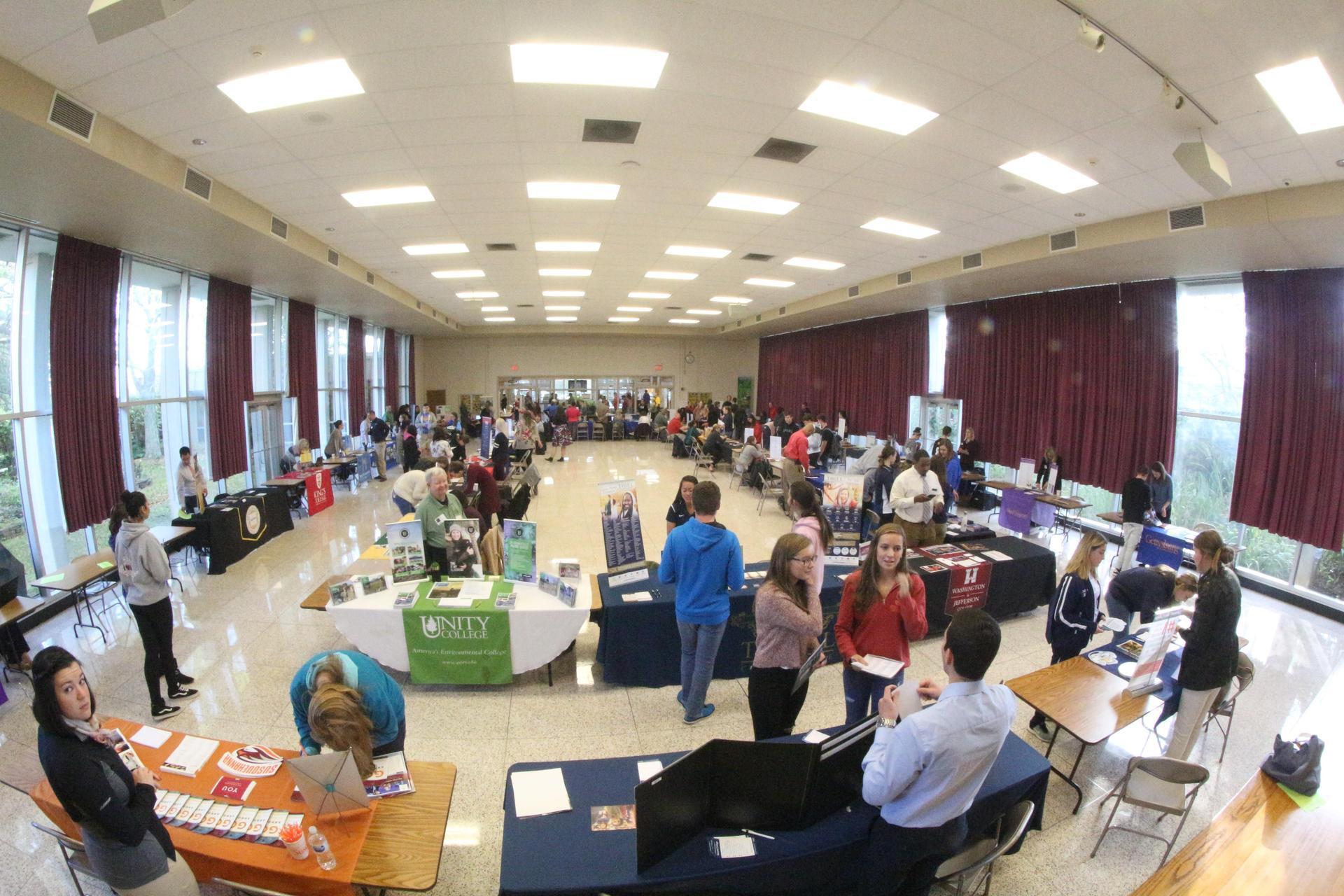 wide shot of college fair