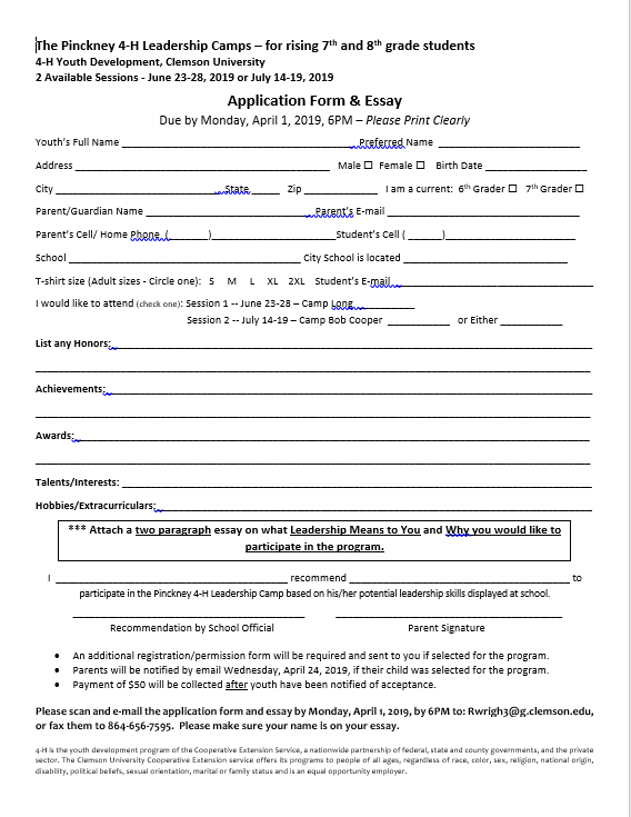 4-H application