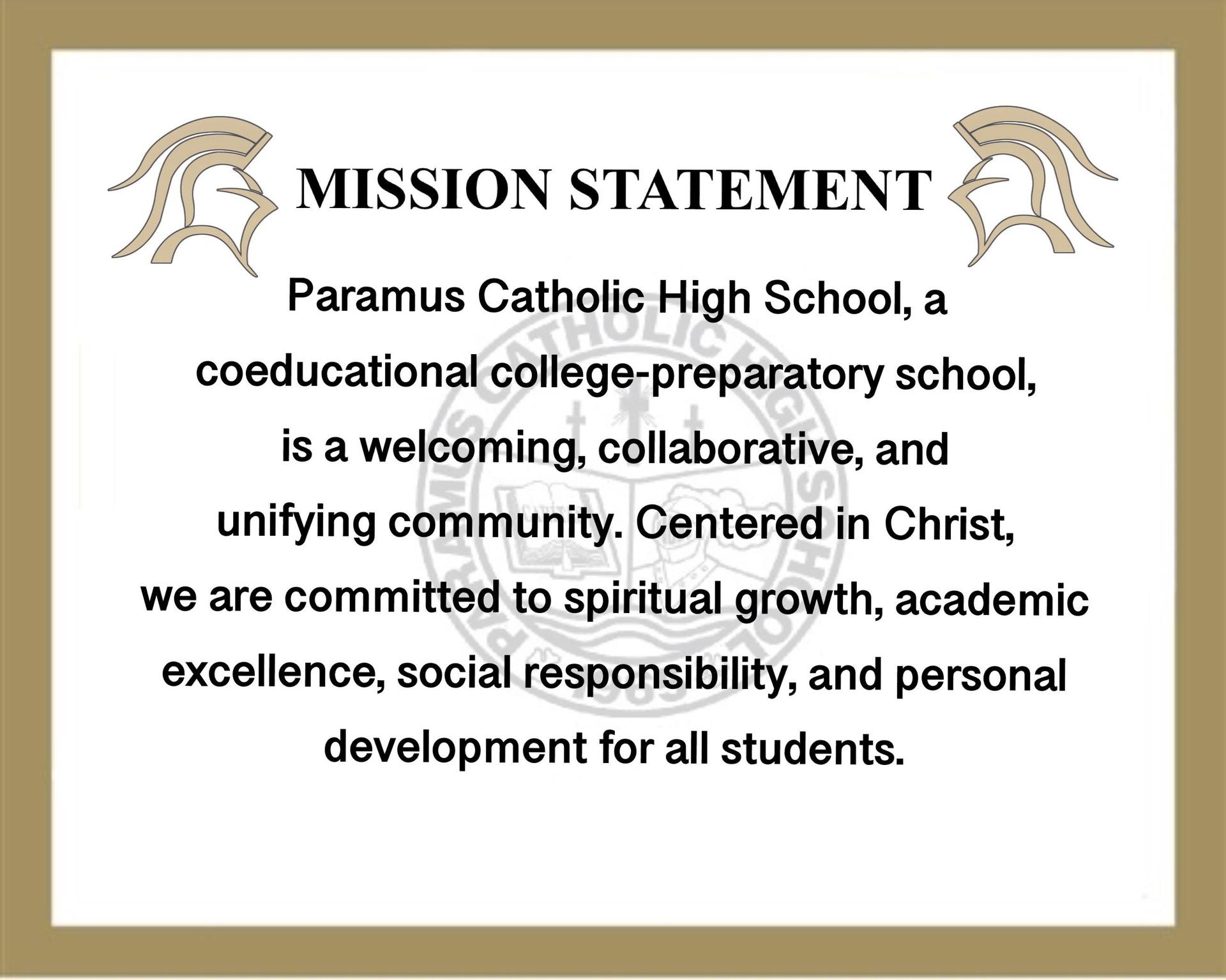 Paramus Catholic Missions Statement