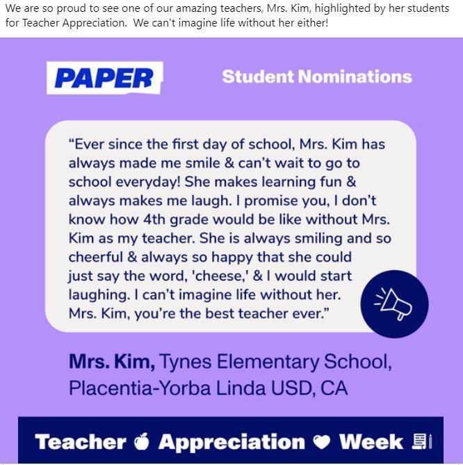 Teacher announcement