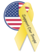 American Flag and yellow ribbon