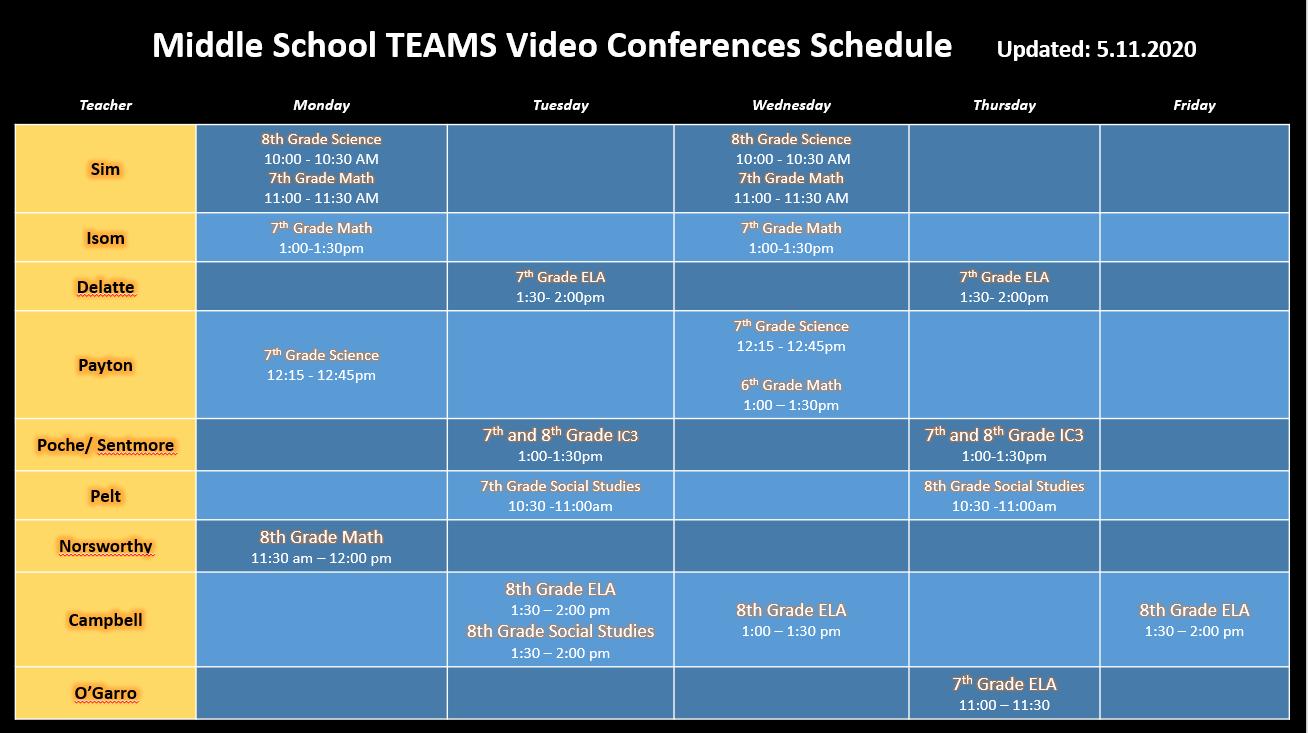 Middle School Virtual Class Schedule