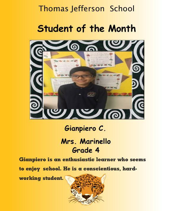 Gianpiero Students of the Month