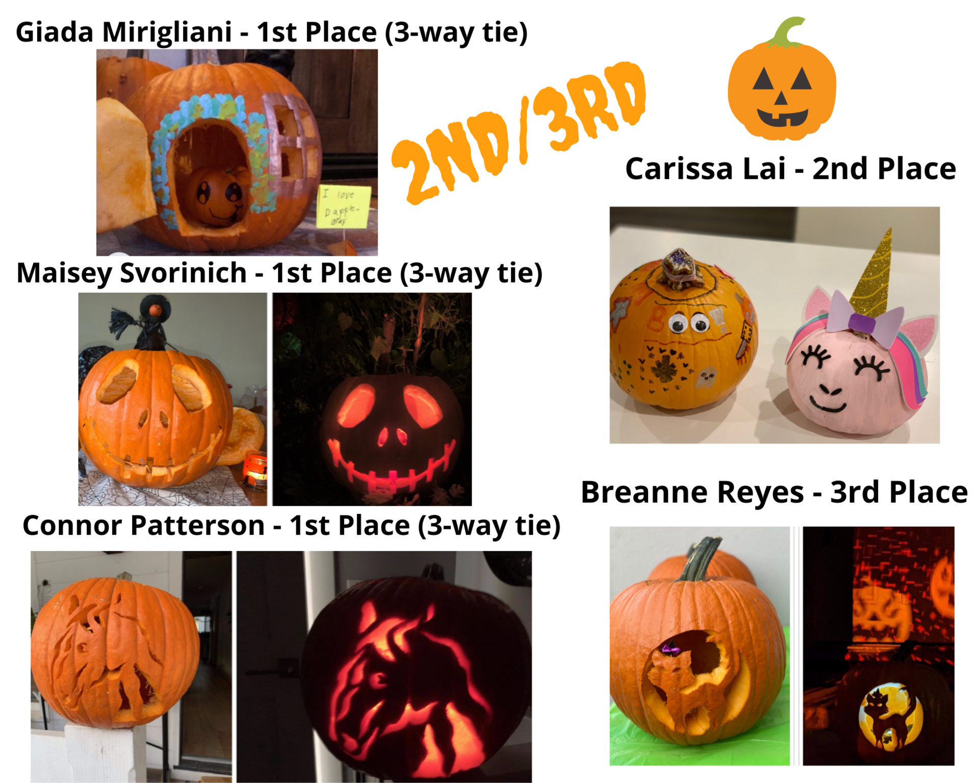 Pumpkin Carving Winners 2nd 3rd
