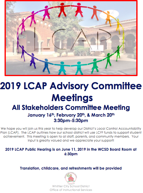 Pciture of WCSD LCAP 2018 - 2019 Meetings