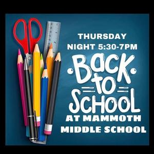 MMS Back to school night September 12th from 5:30pm to 7pm