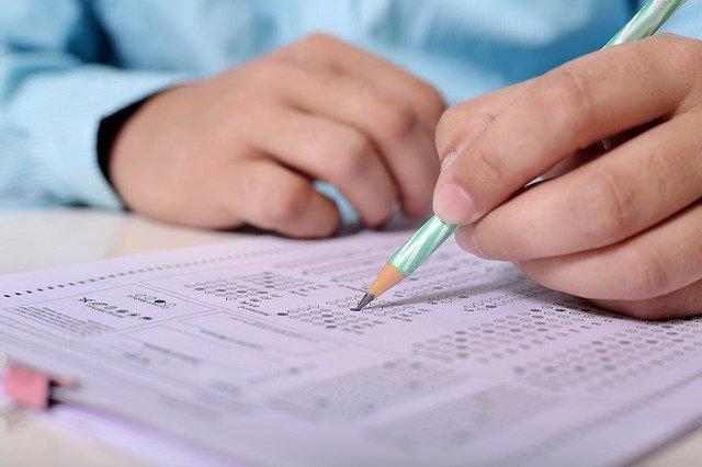 person taking exam