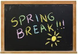 Chalkboard with Spring Break written on it.