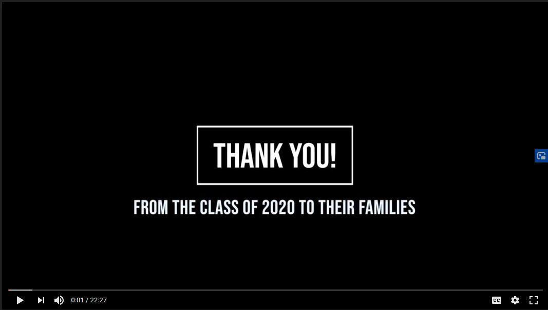 Thank You from the Class of 2020 to Their Families