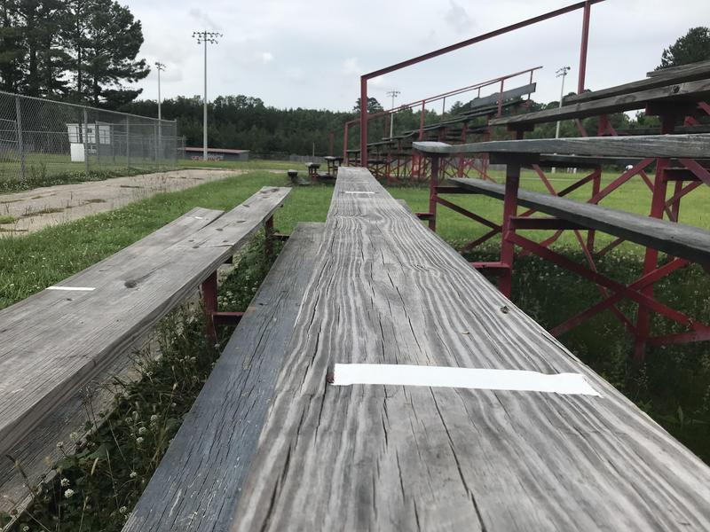Northeast High School Practice Field Benches with tape