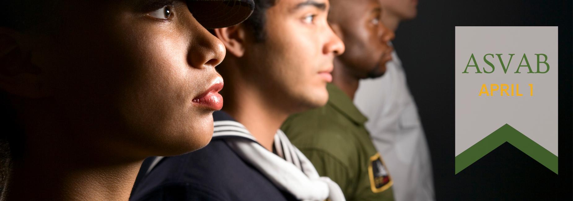4 military service members in uniform