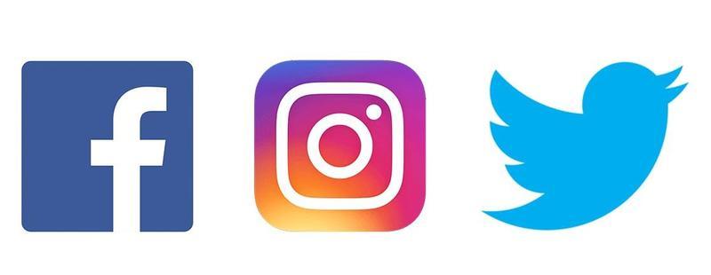Facebook, Twitter, and Instagram Logos