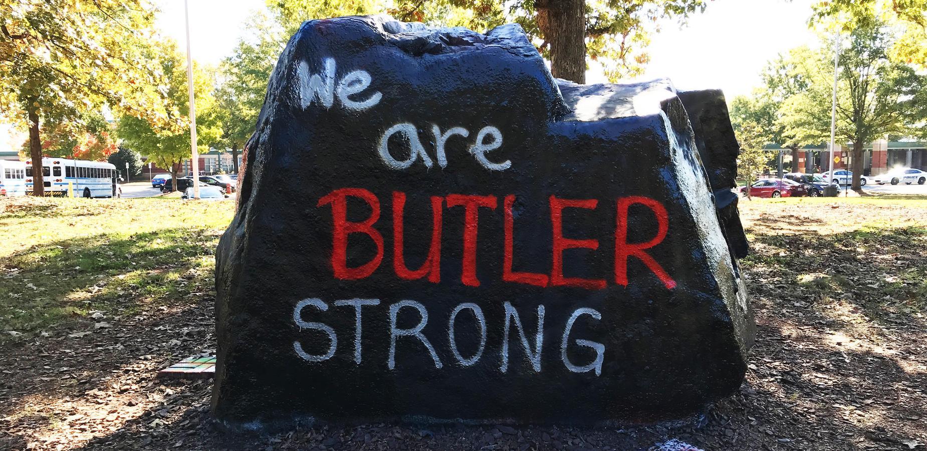 The rock in front of Butler High School