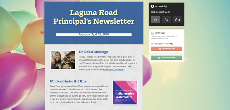 screenshot of newsletter