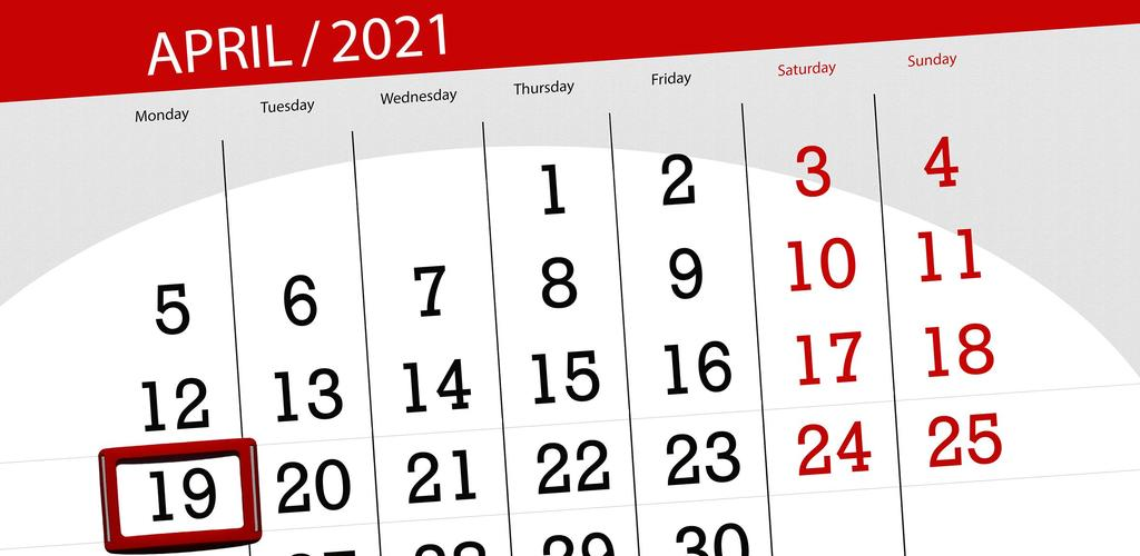 Image, a page of a calendar, April 2021 with a box around April 19
