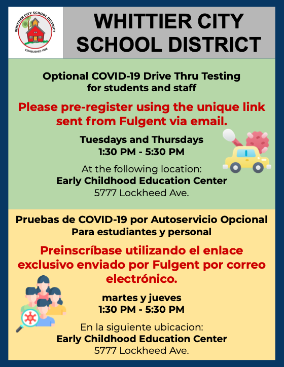 Optional COVID-19 Drive Thur Testing for Students & Staff