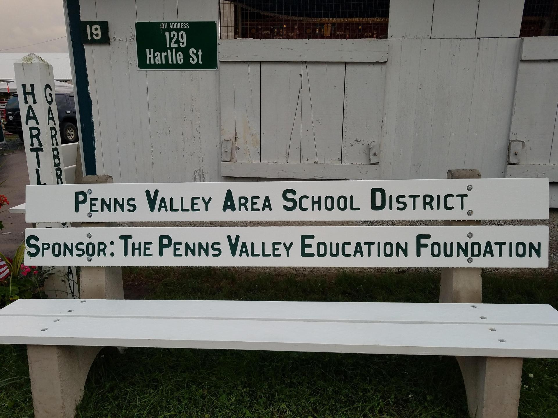 Penns Valley Education Foundation bench at Grange Fair