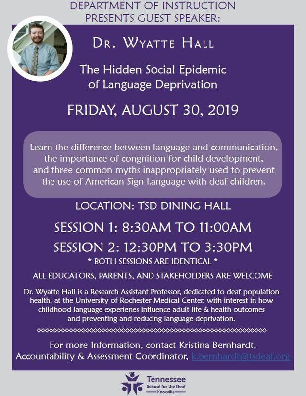 The Social Epidemic of Language Deprivation Flyer for TSD Knoxville