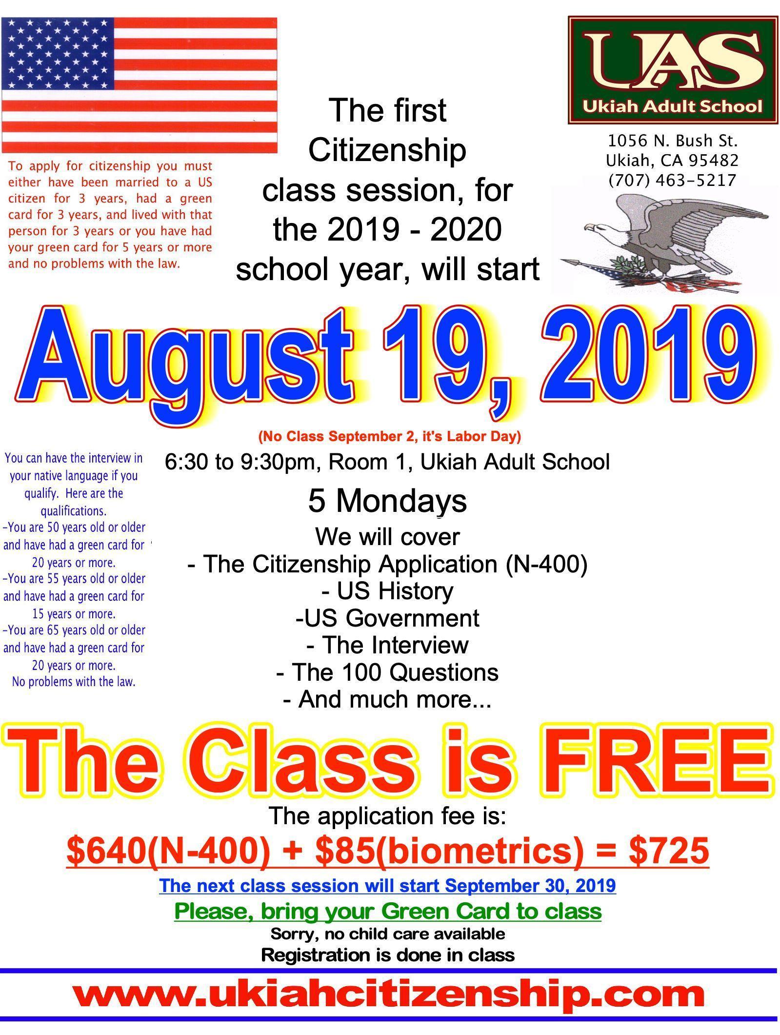 Citizenship Classes – Citizenship – Ukiah Adult School
