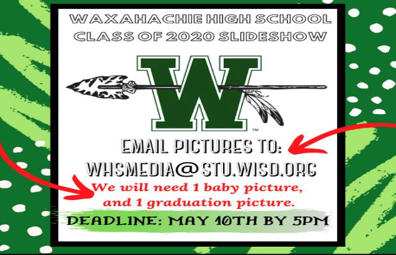 graphic asking for pictures for the senior slideshow
