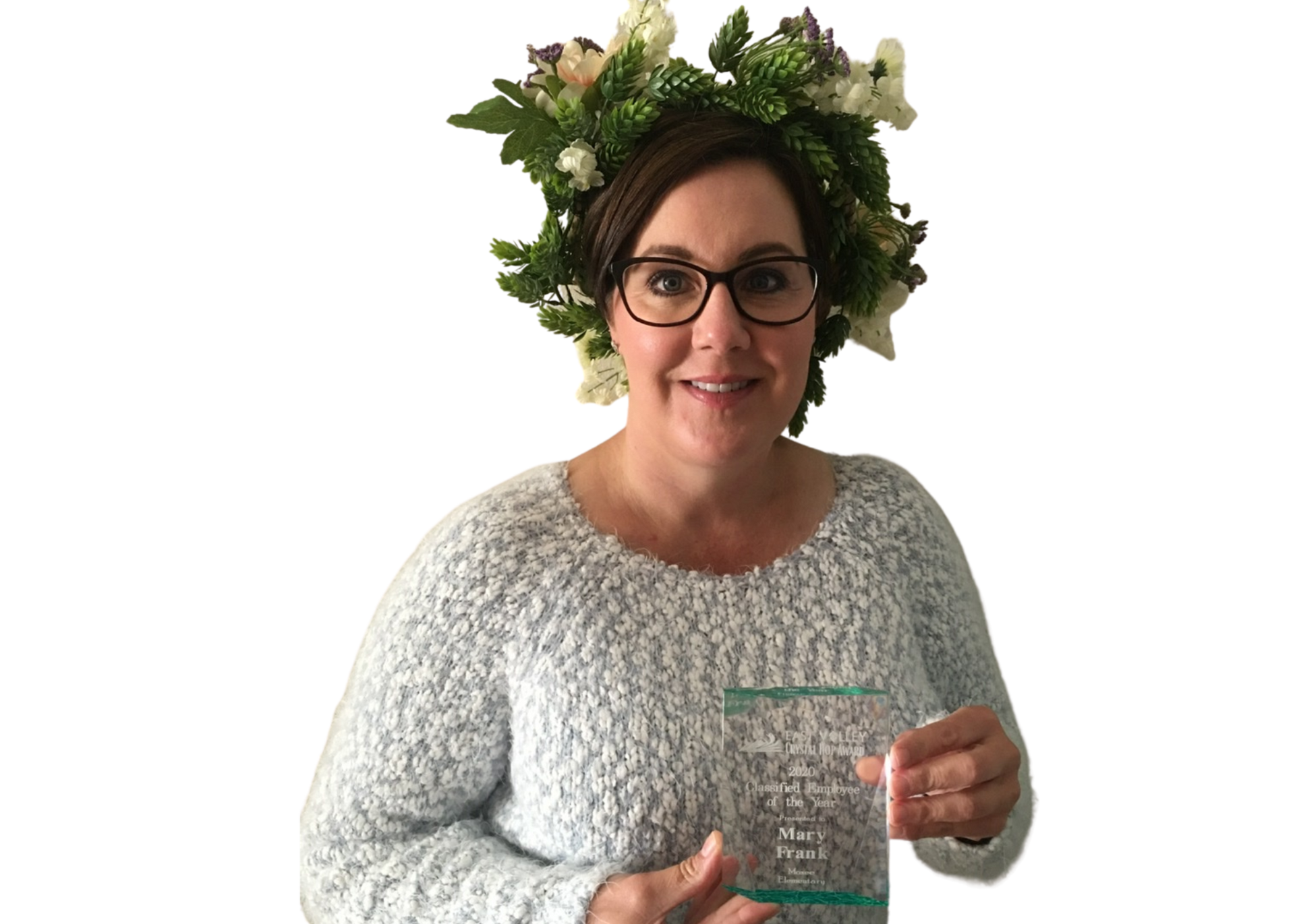 Mary Frank wearing hop crown and holding hop plaque.