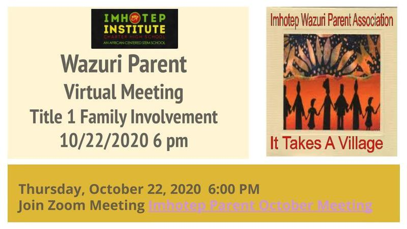 Imhotep Monthly Parent Meeting- 6:00 PM Title 1 Family Involvement Featured Photo