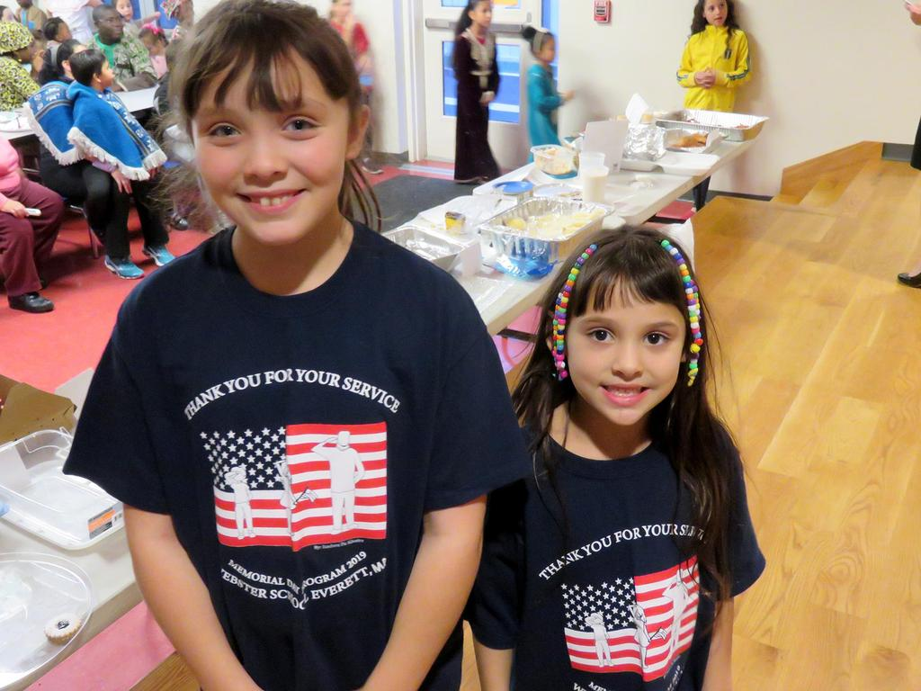 Two students wearing EPS Memorial Day T-shirts