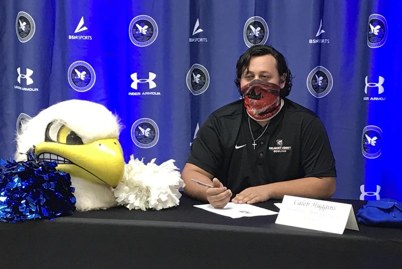 Airport High School senior Caleb Huggins declared his intent to sign with Belmont Abbey College.