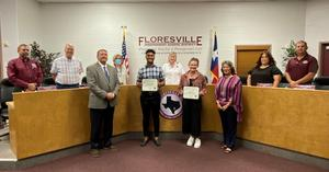 Students of the Month with Board of Trustees and administration