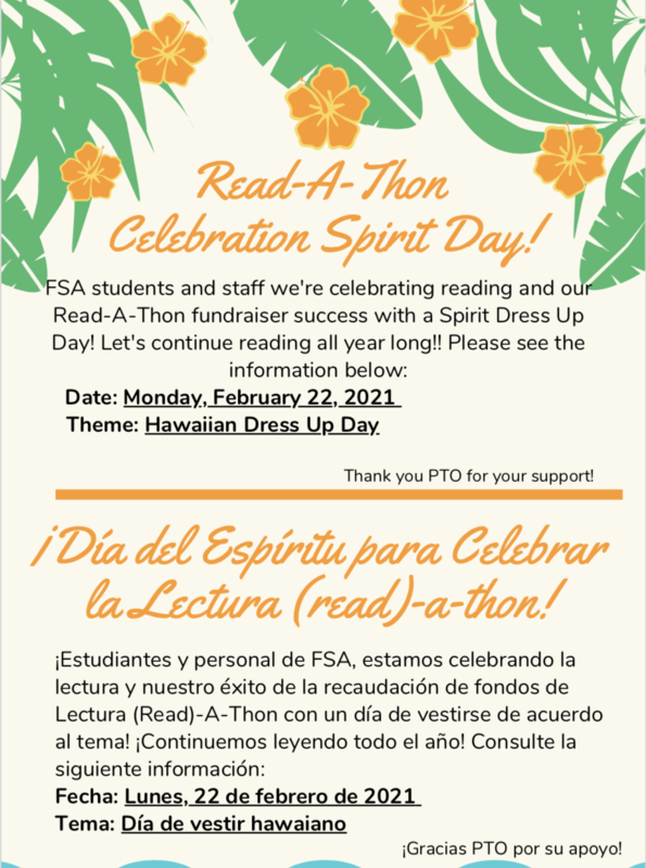 Read-A-Thon Celebration Spirit Day/ Dia del espiritu para celebrar la lectura Featured Photo