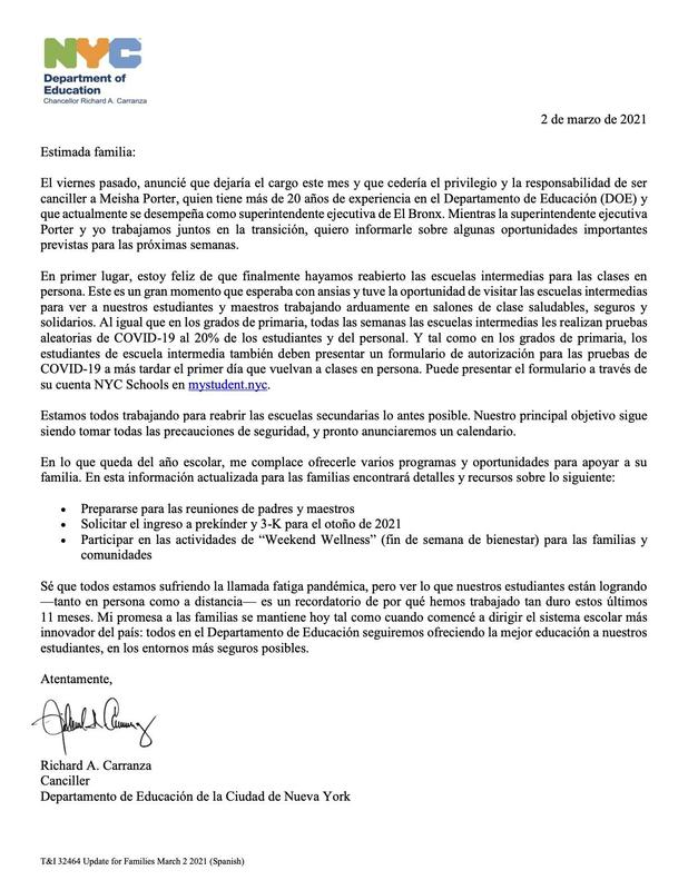 A letter from the Chancellor in Spanish stating that he is stepping down