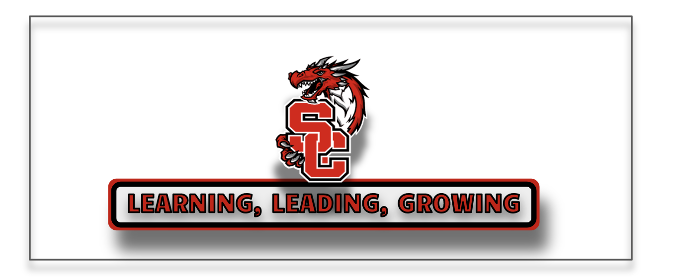 District dragon logo  above the District tagline: Leading, Learning, Growing