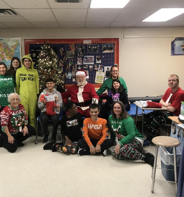 Santa visited the High School
