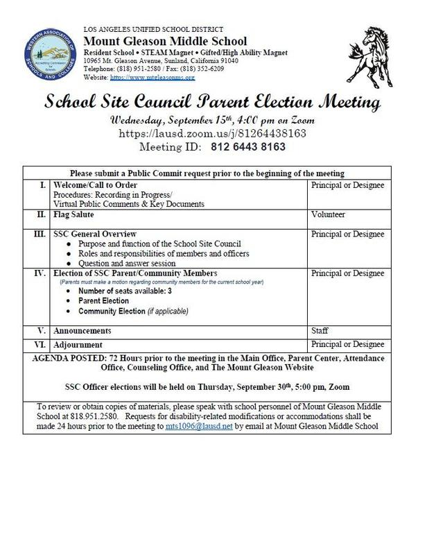 School Site Council Election Meeting