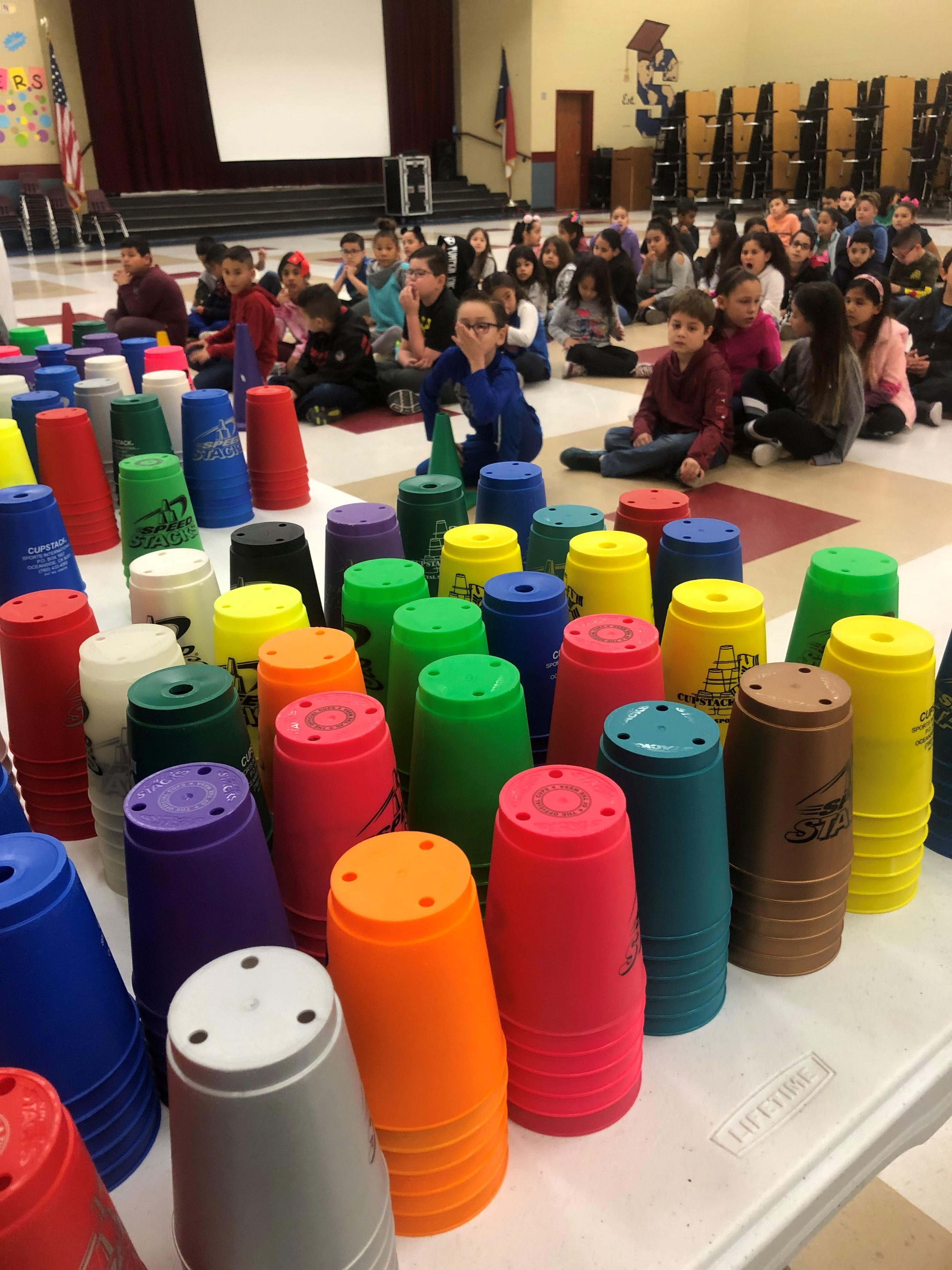 Sanchez Elementary getting ready for cupstacking