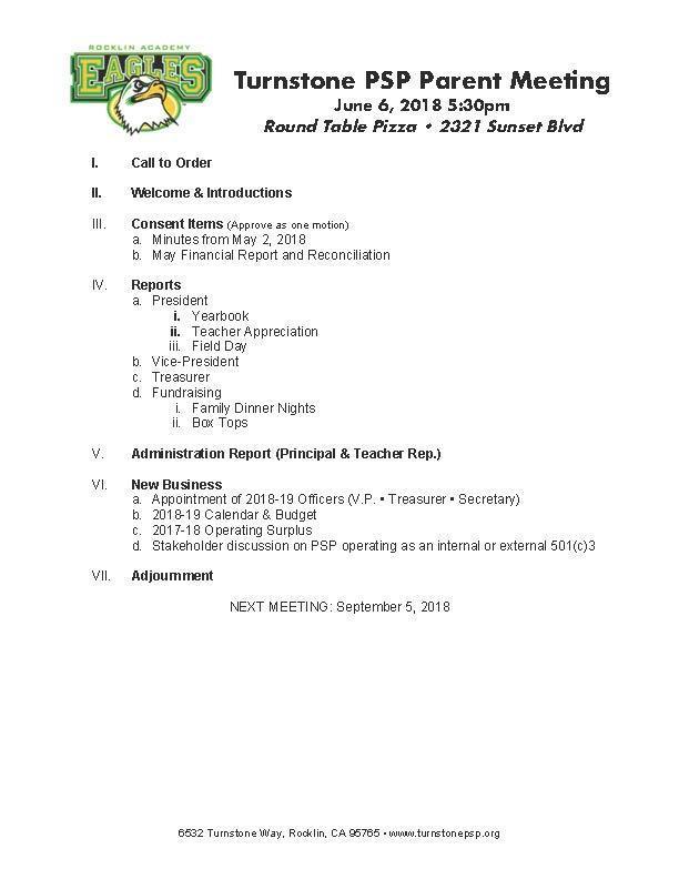 PSP Meeting Agenda