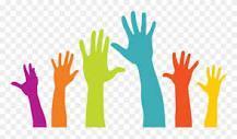 Hands raised to volunteer image