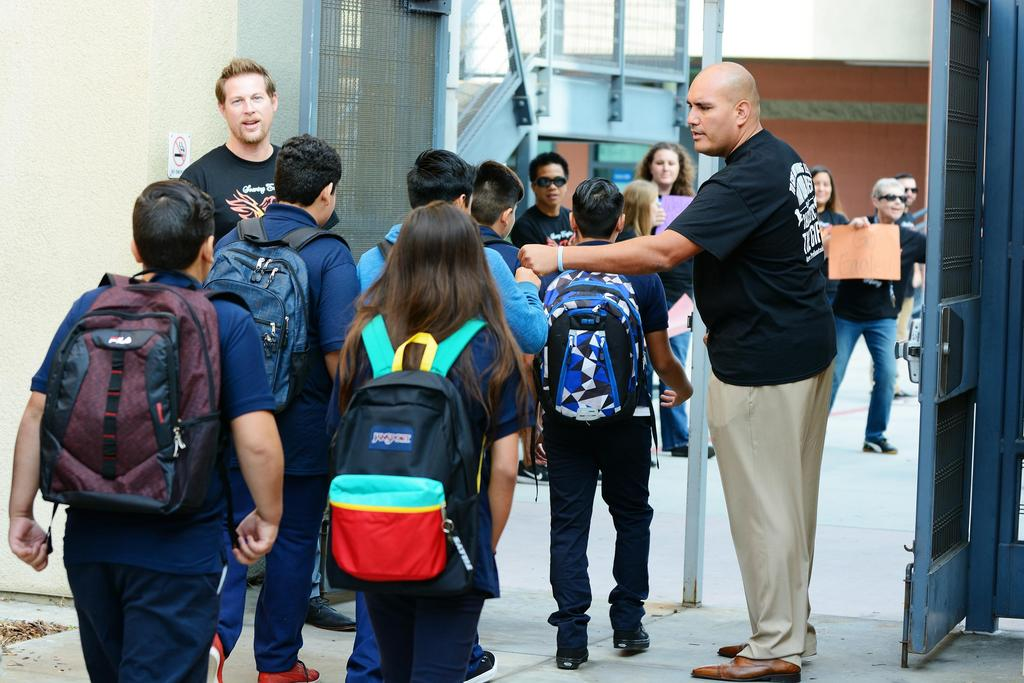 Valadez Eagles being welcomed by new Principal and Assistant Principal