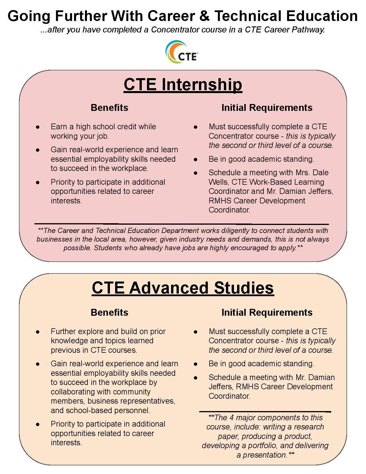 CTE Internship & Advanced Studies Information